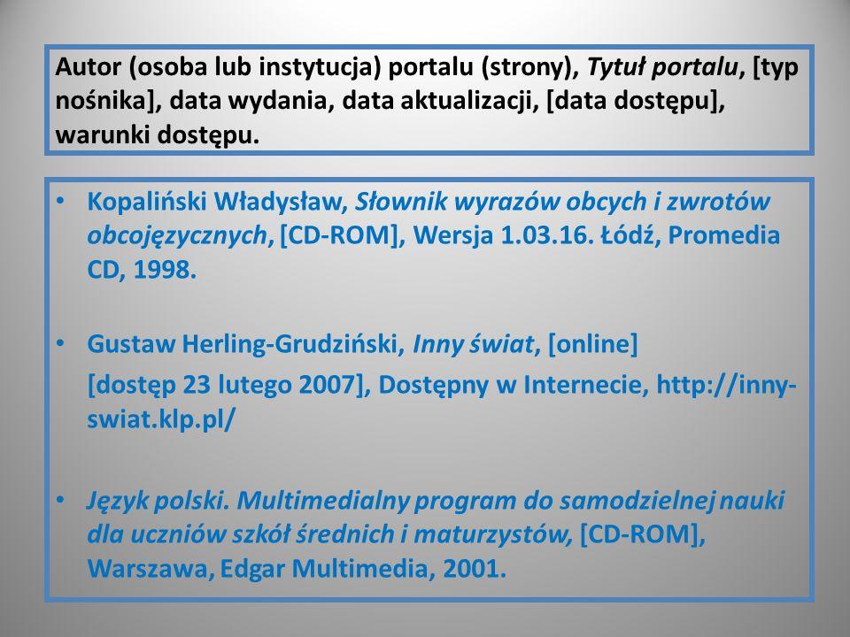 Autor (osoba lub instytucja) portalu (strony), Tytuł portalu, [typ nośnika], data wydania, data aktualizacji, [data dostępu], warunki dostępu.